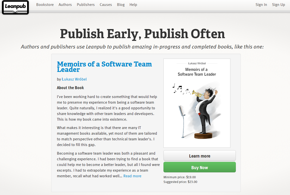 """Memoirs of a Software Team Leader"" on the Leanpub homepage"